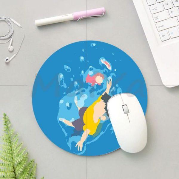 MaiYa 2018 Krajews Ponyo Studio Ghibli Silicone round mouse Pad to Mouse Game Anti Slip - Anime Mousepads