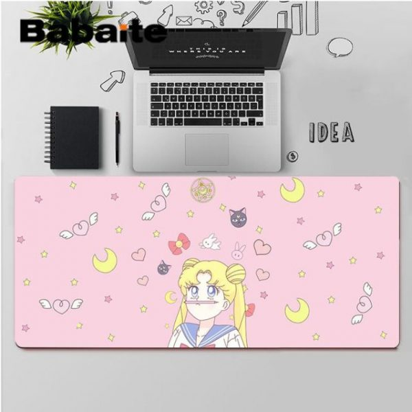Babaite High Quality Pink Anime Moon Girl Customized laptop Gaming mouse pad Rubber Computer Gaming mousepad 2.jpg 640x640 2 - Anime Mousepads