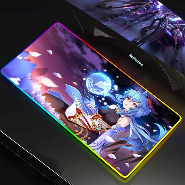 RGB LED Gaming Mouse Pad Mousepad Cool Mause Pad Keyboard Desk Carpet Game Rubber No slip - Anime Mousepads