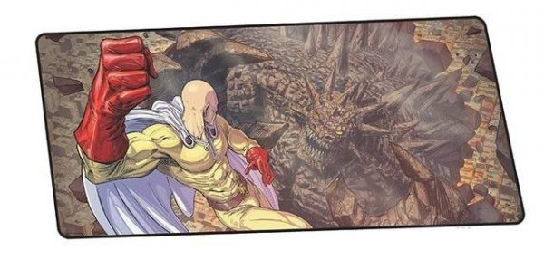 Saitama Punches Ancient King design 2 / Size 600x300x2mm Official Anime Mousepads Merch