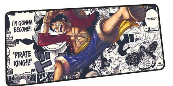 Color Luffy on Black and White manga mousepad 10 / Size 600x300x2mm Official Anime Mousepads Merch