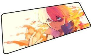 Todoroki Fire on White mousepad 11 / Size 600x300x2mm Official Anime Mousepads Merch