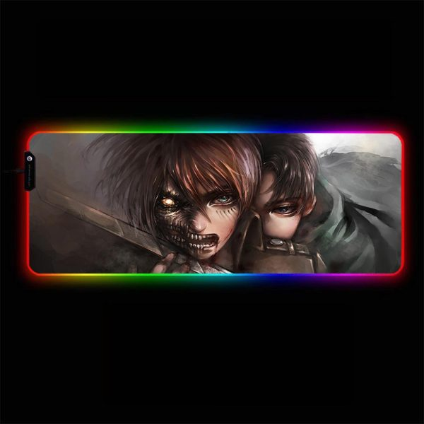 Attack on Titan - Eren, Levi - RGB Mouse Pad 350x250x3mm Official Anime Mousepad Merch