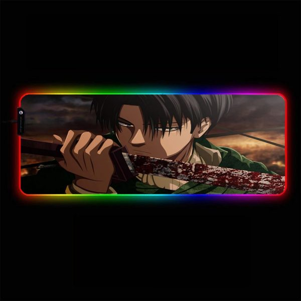 Attack on Titan - Levi Sword - RGB Mouse Pad 350x250x3mm Official Anime Mousepad Merch