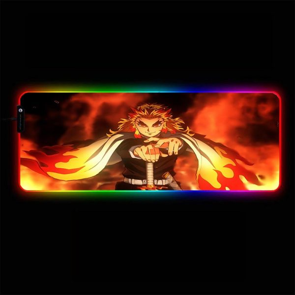 Demon Slayer: Kimetsu no Yaiba - Rengoku Fire - RGB Mouse Pad 350x250x3mm Official Anime Mousepad Merch