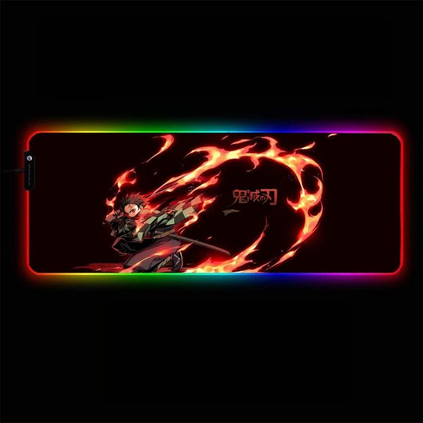 Demon Slayer: Kimetsu no Yaiba - Tanjiro Kamado Fire - RGB Mouse Pad 350x250x3mm Official Anime Mousepad Merch