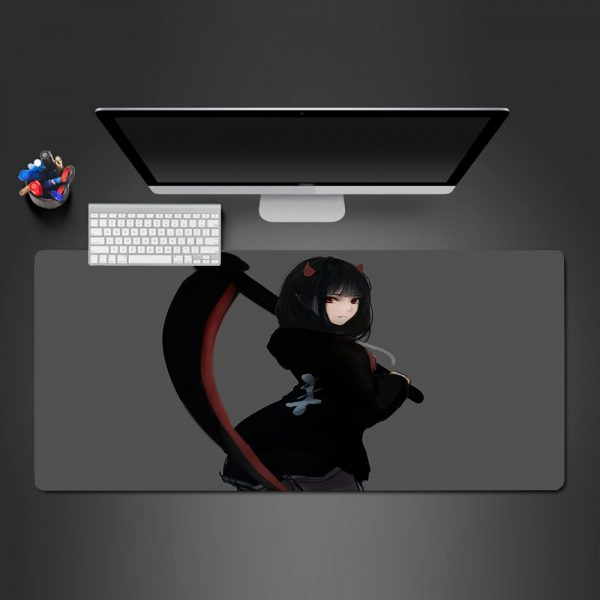 Girl with Scythe Design Gamer Mouse Pad Large Computer Desk Mat XXL PC Gaming Mousepad 350x250x2mm Official Anime Mousepad Merch